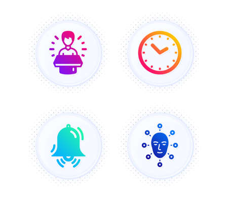 Brand ambassador, Time and Clock bell icons simple set. Button with halftone dots. Face biometrics sign. Man speak, Clock, Alarm. Facial recognition. Technology set. Vector 일러스트