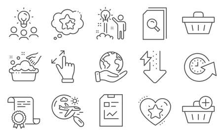 Set of Business icons, such as Report document, Energy drops. Diploma, ideas, save planet. Creative idea, Search flight, Add purchase. Hand washing, Shopping basket, Search files. Vector