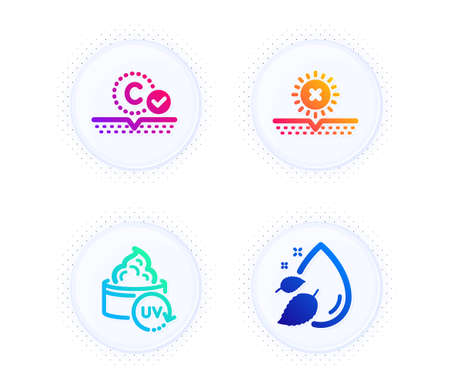 Uv protection, No sun and Collagen skin icons simple set. Button with halftone dots. Water drop sign. Skin cream, Uv protect, Serum oil. Beauty set. Gradient flat uv protection icon. Vector