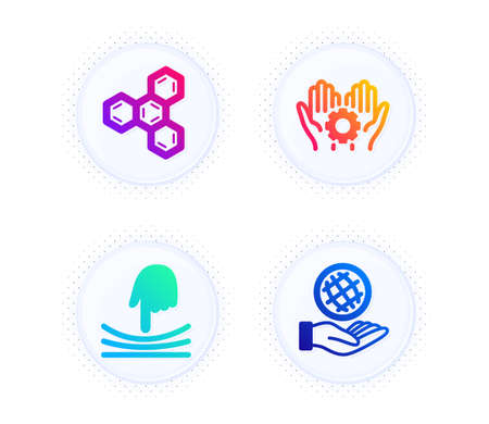 Elastic, Chemical formula and Employee hand icons simple set. Button with halftone dots. Safe planet sign. Resilience, Chemistry, Work gear. Ecology. Science set. Gradient flat elastic icon. Vector