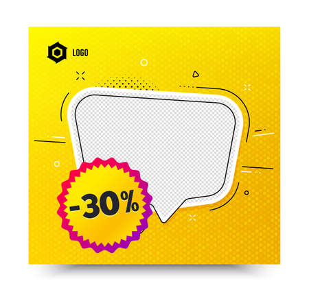 Sale 30 percent off badge. Yellow banner template. Discount banner shape. Coupon bubble icon. Social media banner with chat bubble. Online shopping web template. Sale 30% promotion bubble. Vector
