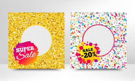 Super sale and 20% discount. Sale banner with gold glitter, confetti. Discount offer badge. Social media layout banner. Online shopping web template. Promotional flyer design. Vector