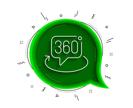 360 degree line icon. Chat bubble with shadow. VR technology simulation sign. Panoramic view symbol. Thin line 360 degree icon. Vector
