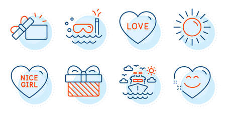 Nice girl, Gift and Opened gift signs. Smile chat, Scuba diving and Sun line icons set. Ship travel, Love symbols. Heart face, Trip swimming. Holidays set. Outline icons set. Vector