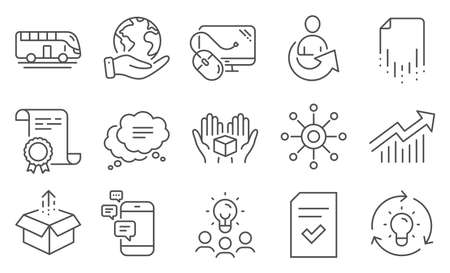 Set of Technology icons, such as Hold box, Idea. Diploma, ideas, save planet. Computer mouse, Send box, Recovery file. Communication, Demand curve, Checked file. Vector