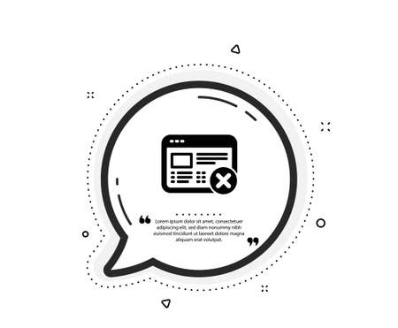 Reject web page icon. Quote speech bubble. No internet sign. Delete browser. Quotation marks. Classic reject web icon. Vector Illustration