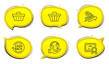 Loan percent sign. Diploma certificate, save planet chat bubbles. Cashback, Shop cart and Shopping basket line icons set. Refund commission, Web buying, Sale offer. Growth chart. Finance set. Vector