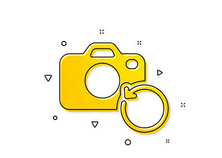 Backup data sign. Recovery photo camera icon. Restore information symbol. Yellow circles pattern. Classic recovery photo icon. Geometric elements. Vector