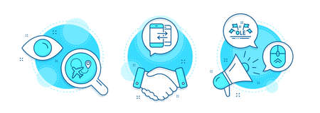 Ole chant, Airplane and Phone communication line icons set. Handshake deal, research and promotion complex icons. Swipe up sign. Sport championship, Plane, Incoming and outgoing calls. Vector Vecteurs