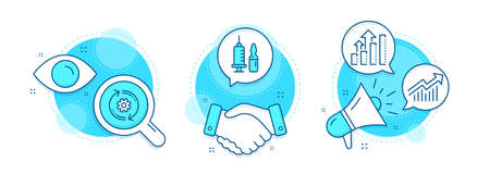 Medical vaccination, Cogwheel and Demand curve line icons set. Handshake deal, research and promotion complex icons. Analysis graph sign. Syringe vaccine, Engineering tool, Statistical report. Vector