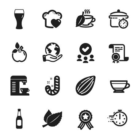 Set of Food and drink icons, such as Cooking timer, Boiling pan. Certificate, approved group, save planet. Love cooking, Candy, Coffee machine. Beer, Almond nut, Mint leaves. Vector Vektoros illusztráció