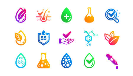 Dermatologically tested, Paraben chemical formula icons. No artificial colors, Anti-dandruff flakes free icons. Hypoallergenic tested, Neutral ph. Classic set. Gradient patterns. Vector Ilustracja