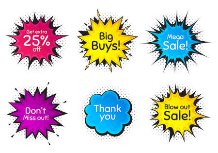 Mega sale, 25% discount and miss out. Comic speech bubble. Thank you, hi and yeah phrases. Sale shopping text. Chat messages with phrases. Colorful texting comic speech bubble. Vector