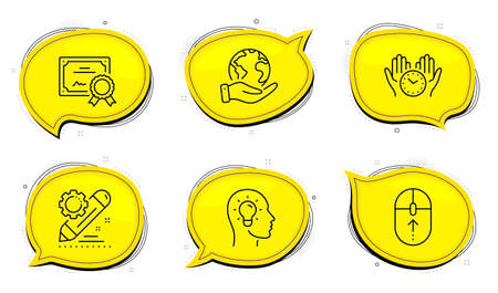 Project edit sign. Diploma certificate, save planet chat bubbles. Idea head, Safe time and Swipe up line icons set. Lightbulb, Hold clock, Scrolling page. Settings. Science set. Vector