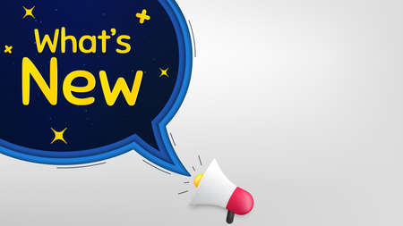 Whats new symbol. Megaphone banner with speech bubble. Special offer sign. New arrivals symbol. Loudspeaker with chat bubble. Night stars concept. Whats new promotion text. Social media banner. Vector