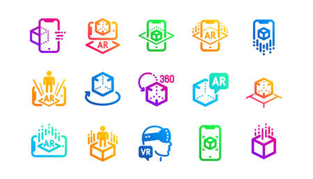 VR simulation, Panorama view, 360 degrees. Augmented reality icons. Virtual reality gaming, augmented, full rotation arrows icons. Classic set. Gradient patterns. Quality signs set. Vector