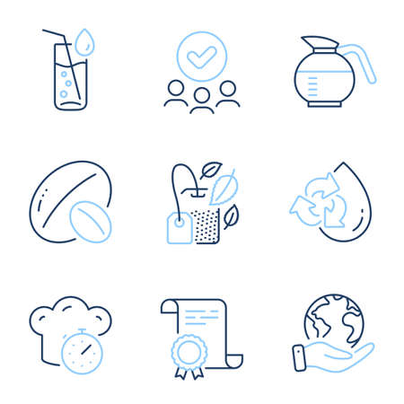 Recycle water, Mint bag and Water glass line icons set. Diploma certificate, save planet, group of people. Cooking timer, Soy nut and Coffeepot signs. Refill aqua, Mentha tea, Soda drink. Vector