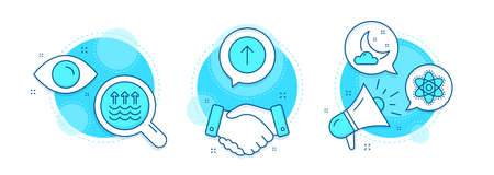 Swipe up, Night weather and Evaporation line icons set. Handshake deal, research and promotion complex icons. Chemistry atom sign. Scroll screen, Sleep, Global warming. Laboratory molecule. Vector