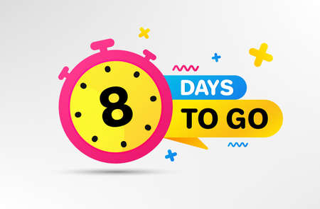 Eight days left icon. Countdown left days banner with timer. 8 days to go sign. Sale announcement banner. Count time for promotional offer. Promotion countdown timer. Vector