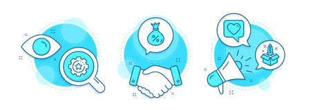 Settings gear, Loan and Startup line icons set. Handshake deal, research and promotion complex icons. Heart sign. Technology process, Money bag, Innovation. Like rating. Technology set. Vector