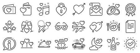 Wedding car, marriage rings, love. Honeymoon line icons. Bridal champagne, Valentine heart icons. Couple tickets, honeymoon travel, married night. Wedding music, love lock. Vector Vecteurs