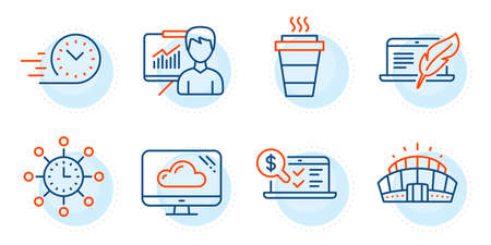 Cloud storage, Fast delivery and Arena stadium signs. World time, Online accounting and Takeaway line icons set. Copyright laptop, Presentation symbols. Measurement device, Web audit. Vector