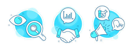 Chemistry lab, Search and Dot plot line icons set. Handshake deal, research and promotion complex icons. Breathing exercise sign. Laboratory, Magnifying glass, Presentation graph. Breath. Vector Illusztráció