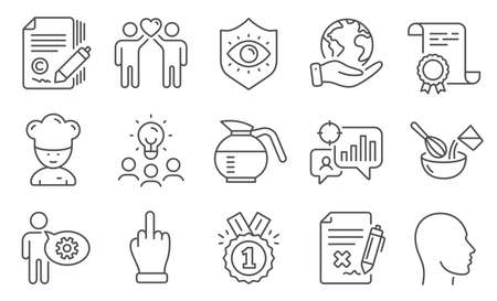 Set of Business icons, such as Coffeepot, Seo statistics. Diploma, ideas, save planet. Friends couple, Approved, Cogwheel. Cooking chef, Copywriting, Reject file. Vector