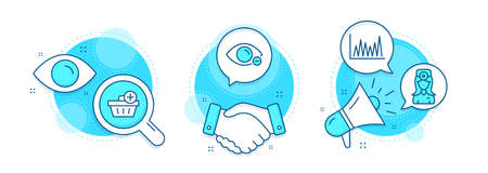 Myopia, Line graph and Add purchase line icons set. Handshake deal, research and promotion complex icons. Oculist doctor sign. Eye vision, Market diagram, Shopping order. Optometrist. Vector