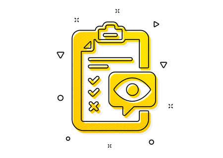 Oculist clinic sign. Eye checklist icon. Optometry vision check symbol. Yellow circles pattern. Classic eye checklist icon. Geometric elements. Vector Illustration