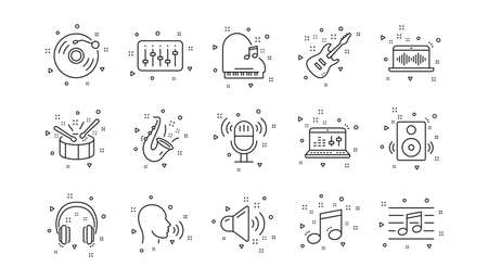 Guitar, Musical note and Headphones. Music line icons. Jazz saxophone linear icon set. Geometric elements. Quality signs set. Vector Vectores