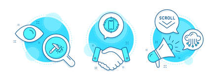 Hammer blow, Cloud storage and Scroll down line icons set. Handshake deal, research and promotion complex icons. Smartphone target sign. Crash tool, Data service, Swipe screen. Phone. Vector