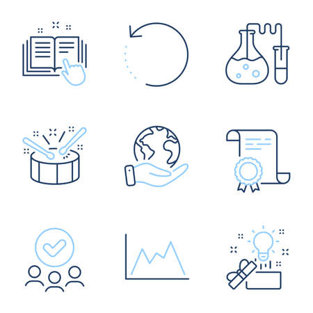 Drums, Chemistry lab and Creative idea line icons set. Diploma certificate, save planet, group of people. Recovery data, Technical documentation and Diagram signs. Vector