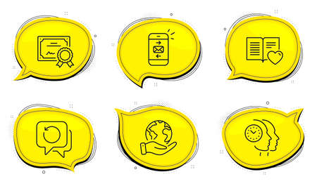 Time management sign. Diploma certificate, save planet chat bubbles. Mail, Love book and Recovery data line icons set. Smartphone communication, Customer feedback, Backup info. Teamwork clock. Vector