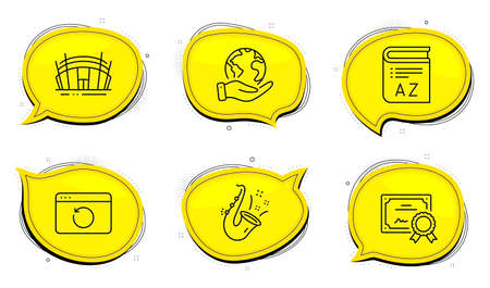 Vocabulary sign. Diploma certificate, save planet chat bubbles. Arena stadium, Jazz and Recovery internet line icons set. Sport complex, Saxophone, Backup info. Book. Business set. Vector Vectores