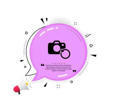 Recovery photo camera icon. Quote speech bubble. Backup data sign. Restore information symbol. Quotation marks. Classic recovery photo icon. Vector Иллюстрация