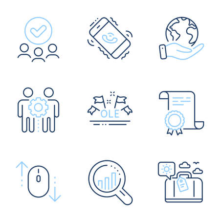 Seo analysis, Scroll down and Employees teamwork line icons set. Diploma certificate, save planet, group of people. Ole chant, Travel luggage and Call center signs. Vector