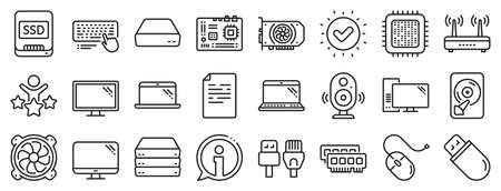 Motherboard, CPU, Internet cables icons. Computer components, Laptop, SSD line icons. Wifi router, computer monitor, Graphic card. Keyboard, SSD device. Internet cables, laptop components. Vector