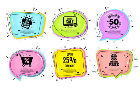 Up to 25% Discount. Big buys, online shopping. Sale offer price sign. Special offer symbol. Save 25 percentages. Quotation bubble. Banner badge, texting quote boxes. Discount tag text. Vector