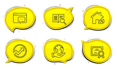 Search text sign. Diploma certificate, save planet chat bubbles. Seo message, Loan house and Audit line icons set. Support chat, Discount percent, Arrow graph. Open book. Technology set. Vector