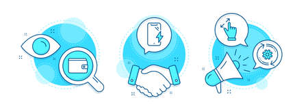 Touchscreen gesture, Money wallet and Cogwheel line icons set. Handshake deal, research and promotion complex icons. Smartphone charging sign. Zoom in, Payment method, Engineering tool. Vector