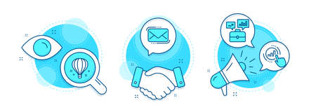 Graph chart, Air balloon and Messenger mail line icons set. Handshake deal, research and promotion complex icons. Business portfolio sign. Get report, Sky travelling, New e-mail. Job interview. Vector