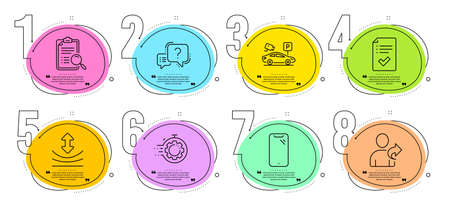 Smartphone, Resilience and Seo timer signs. Timeline steps infographic. Question mark, Parking security and Approved checklist line icons set. Refer friend, Search analysis symbols. Vector