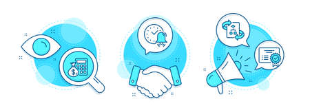 Finance calculator, Alarm bell and Technical algorithm line icons set. Handshake deal, research and promotion complex icons. Certificate sign. Calculate money, Time, Project doc. Vector