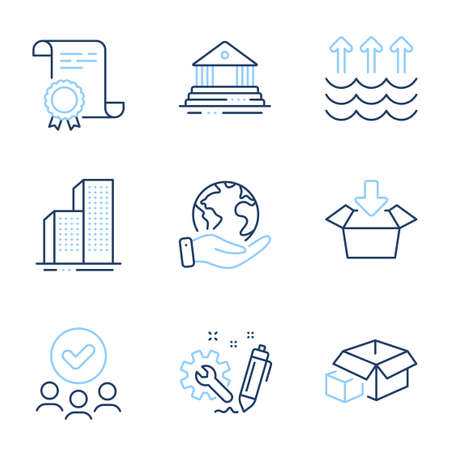Evaporation, Skyscraper buildings and Court building line icons set. Diploma certificate, save planet, group of people. Get box, Packing boxes and Engineering signs. Vector Illustration