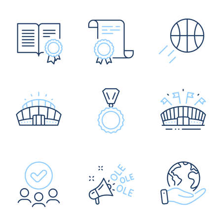 Medal, Diploma and Sports arena line icons set. Diploma certificate, save planet, group of people. Basketball, Arena stadium and Ole chant signs. Winner, Document with badge, Event stadium. Vector Vecteurs