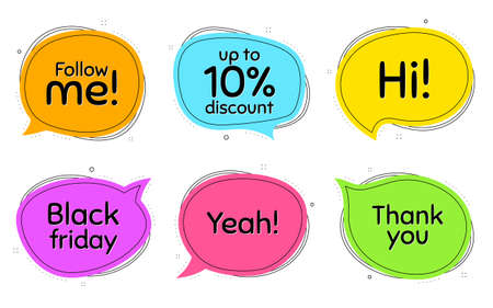 Black friday, 10% discount and follow me. Thought chat bubbles. Thank you, hi and yeah phrases. Sale shopping text. Chat messages with phrases. Colorful texting thought bubbles. Vector