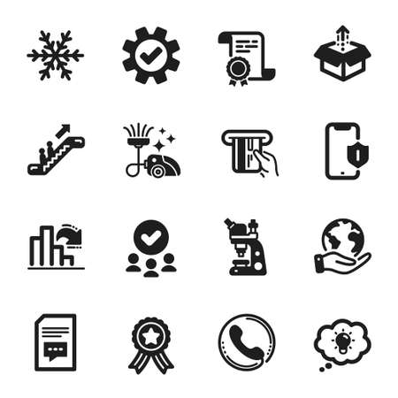 Set of Technology icons, such as Service, Credit card. Certificate, approved group, save planet. Energy, Decreasing graph, Smartphone protection. Comments, Call center, Microscope. Vector