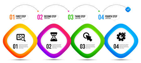 Cogwheel, Search photo and Time icons simple set. Timeline infographic. Click here sign. Edit settings, Find image, Clock. Push button. Technology set. Steps banner with cogwheel icon. Vector