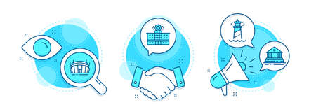 Hospital building, Court building and Arena stadium line icons set. Handshake deal, research and promotion complex icons. Lighthouse sign. Medical help, Government house, Sport complex. Vector